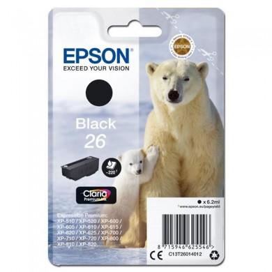 Epson oryginalny ink C13T26014012, T260140, black, 6,2ml, Epson Expression Premium XP800, XP700, XP600