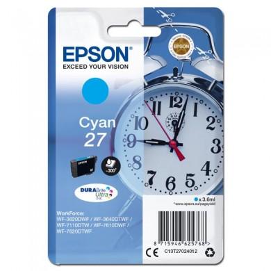 Epson oryginalny ink C13T27024012, 27, cyan, 3,6ml, Epson WF3620, 3640, 7110, 7610, 7620