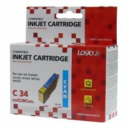 Logo kompatybilny ink z CLI8C, cyan, 14ml, dla Canon iP4200, iP5200, iP5200R, MP500, MP800, z chipem