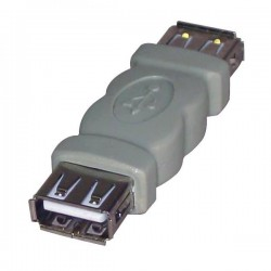 Złączka (2.0), USB A F- USB A F, 0m, szara, Logo, blistr