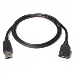 Kabel USB (2.0), USB A  M USB A F, 0.3m, czarny|biały