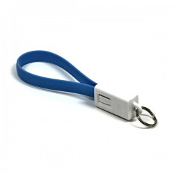 Kabel USB (2.0), USB A  M USB micro M, 0.2m, niebieski, Logo, blistr, breloczek na klucze