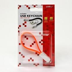Kabel USB (2.0), USB A  M USB micro M, 0.2m, pomarańczowy, Logo, blistr, breloczek na klucze