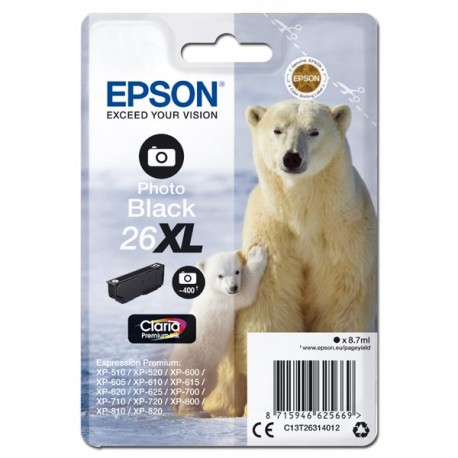 Epson oryginalny ink C13T26314012, T263140, 26XL, photo black, 8,7ml, Epson Expression Premium XP800, XP700, XP600