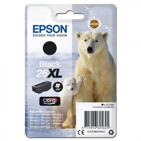 Epson oryginalny ink C13T26214012, T262140, 26XL, black, 12,2ml, Epson Expression Premium XP800, XP700, XP600