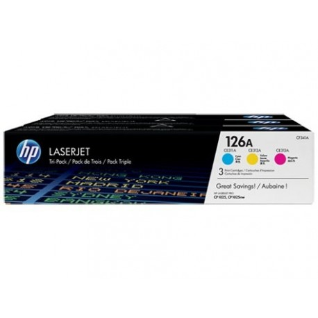 HP Oryginalny toner 126A CP1025 3-Pack CMY (CF341A)