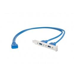 LANBERG Gniazdo USB 3.0x2 na śledziu 40cm