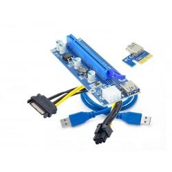 Elmak Riser PCIExpress 1x  16x, USB 3.0, 6pin Sata (0009s)