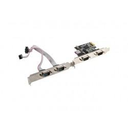 LANBERG Karta PCI Express  COM 9Pin x4 + Śledzie Low Profile