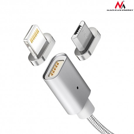 Maclean Kabel lightning USB magnetyczny silver MCE161 Quick & Fast Charge