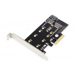 Digitus Karta rozszerzeń (Kontroler) M.2 NGFF|NVMe SSD PCIe 3.0 x4 SATA 80, 60, 42, 30 mm
