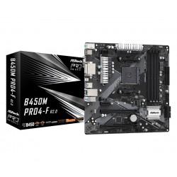 ASRock Płyta główna B450M PRO4F R2.0 AM4 4DDR4 DVI|HDMI|VGA M.2