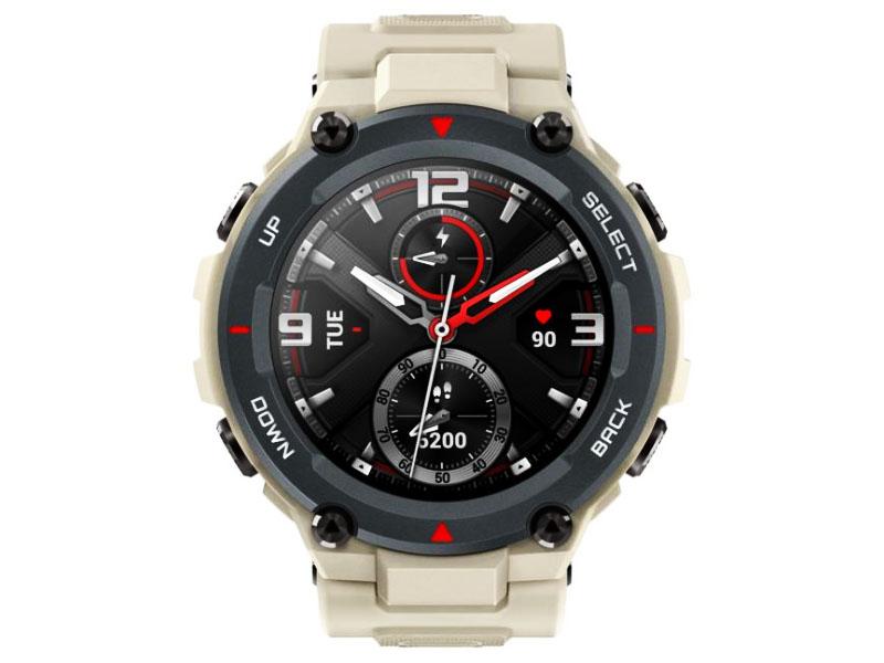 smartwach - amazfit T-Rex w kolorze khaki widok zegarka z przodu