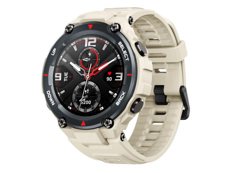 smartwach - amazfit T-Rex w kolorze khaki widok zegarka z boku